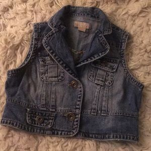 Jean vest S cropped fitted Vintage Stonewash